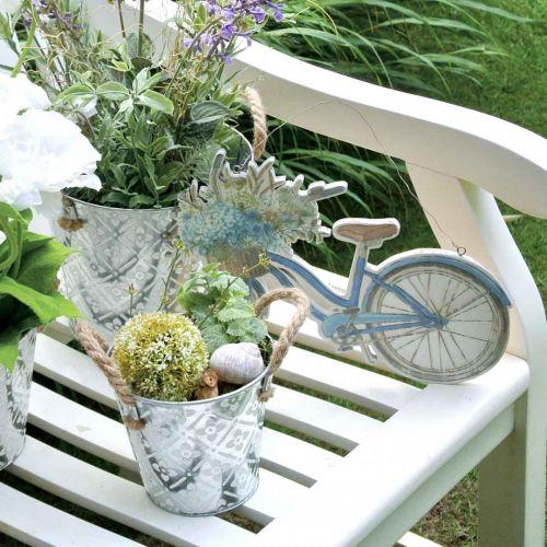 Dekorativ metallkruka, växtkruka med blommönster, metallkärl för plantering Ø20,5 cm