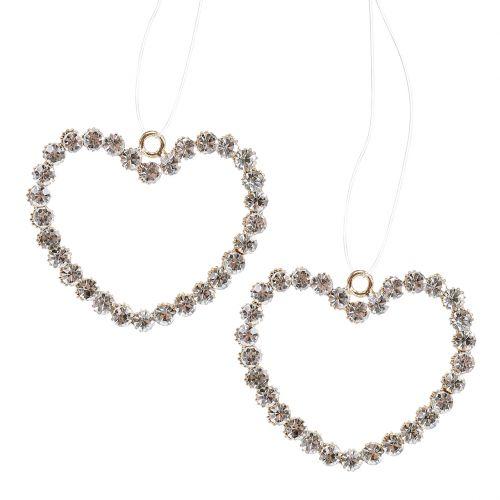 Dekorativt hjärta guld för att hänga med strass 6st