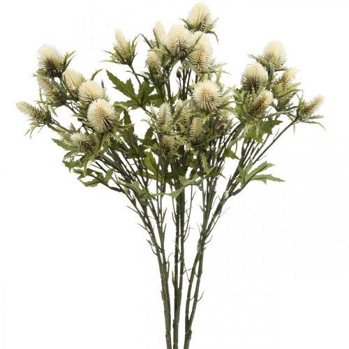Artificiell tistel grenkräm 10 blommor huvuden 68cm 3st