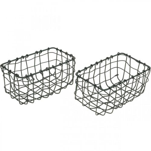 Mini trådkorg, metalldekoration, rektangulär växtkorg L13cm H6,5cm 2st
