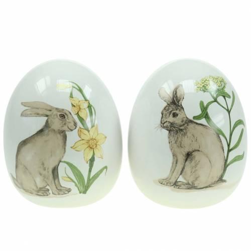 Äggkeramikvit med kaninmotiv Ø12,5cm H16cm 2st