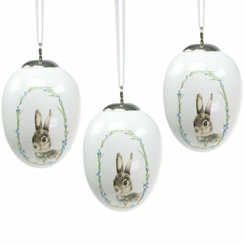 Ägg för hängande keramisk vit kanin Ø5.5cm H7.6cm 12st