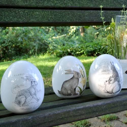 Äggkeramik vit kanin Ø12,5cm H16cm 2st