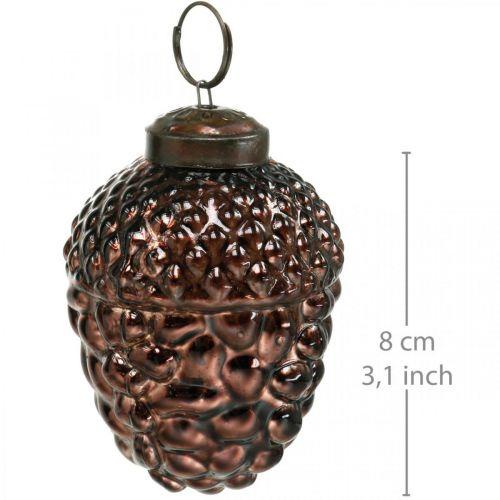 Acorn glas bruna dekorativa kottar för hängande advent dekoration 5,5 × 8 cm 12st