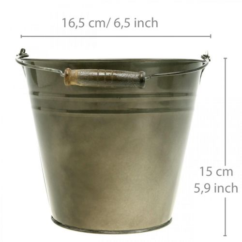 Dekorativ hink med handtag, trädgårdsdekoration, växtkruka, metallkärl Ø16,5cm H15cm