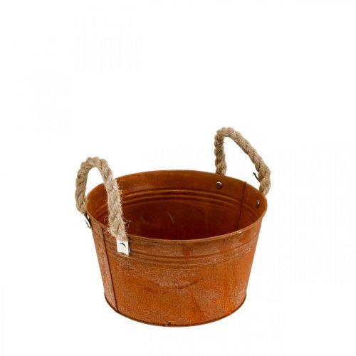 Metalkruka med rephandtag, planteringsskål, höst, patina Ø22cm H12cm