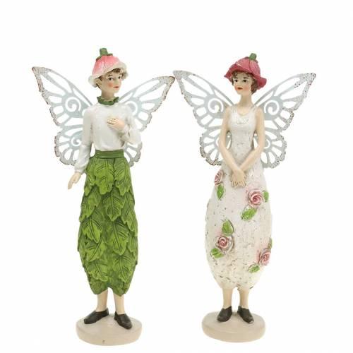 Dekorativ figur älva par älvor vit, rosa, grön H20cm 2st