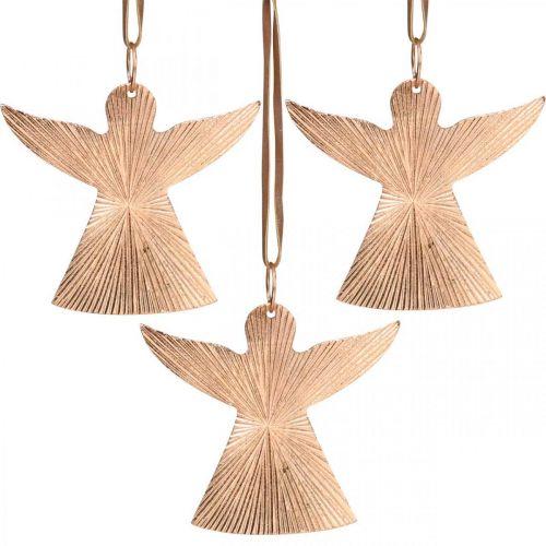 Änglar att hänga, adventsdekorationer, metalldekorationer kopparfärgade 9 × 10cm 3st