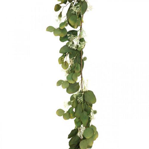 Konstgjord eukalyptuskrans med tistlar höstdekoration 150cm