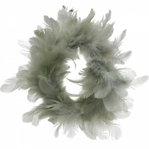 Dekorativ fjäderkransgrå Ø18cm påskdekoration äkta fjädrar