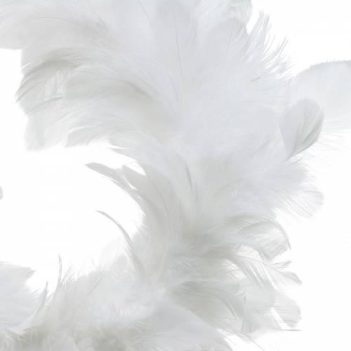 Vit fjäderkransdekoration Ø25cm Påskdekoration Riktiga fjädrar
