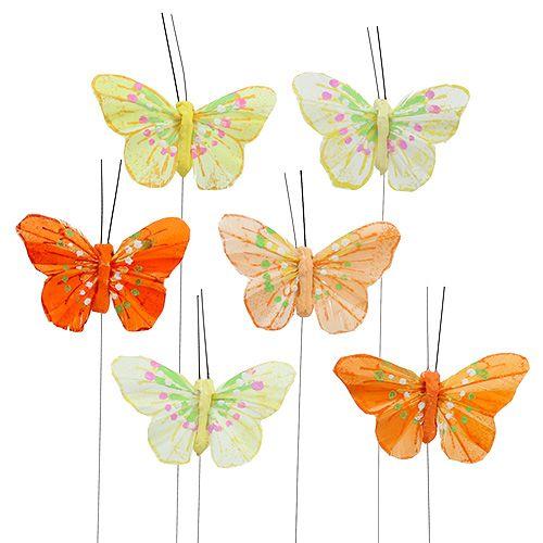 Fjäderfjärilar 6 cm gul, orange 24st