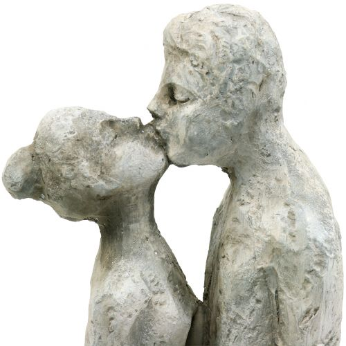 Dekorativt kyssande par stengjutning 40cm