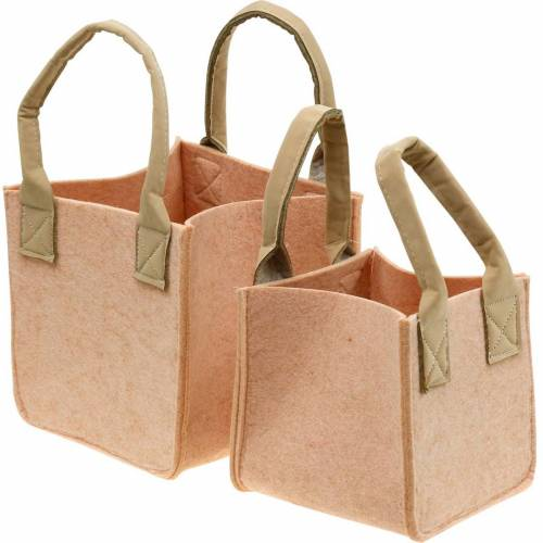 Filtplanter rosa filtpåse med handtag filtdekorationssats om 2