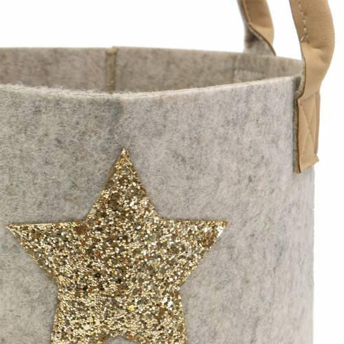 Rund filtväska med paljettstjärna, uppsättning av 2