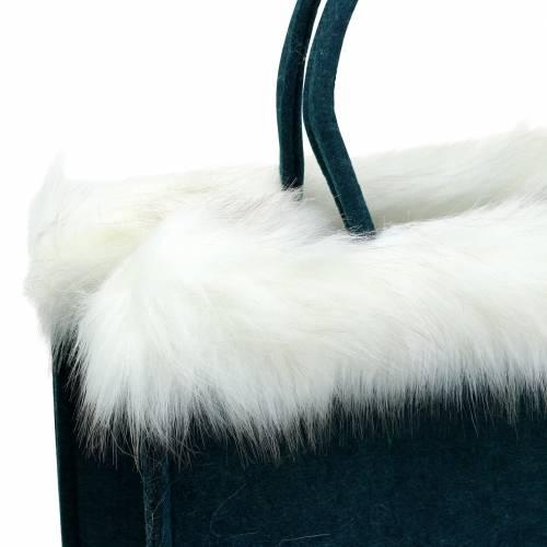 Filtväska med pälskant bensin 38 cm x 24 cm x 20 cm