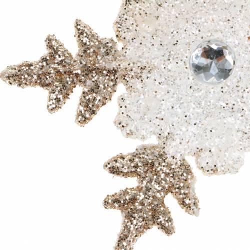 Julgran dekorationer snöflinga glitter pearl 2st