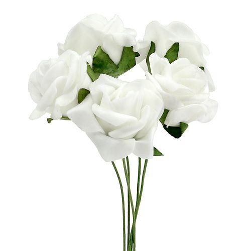 Foam Rose Ø 3,5 cm vit 48st