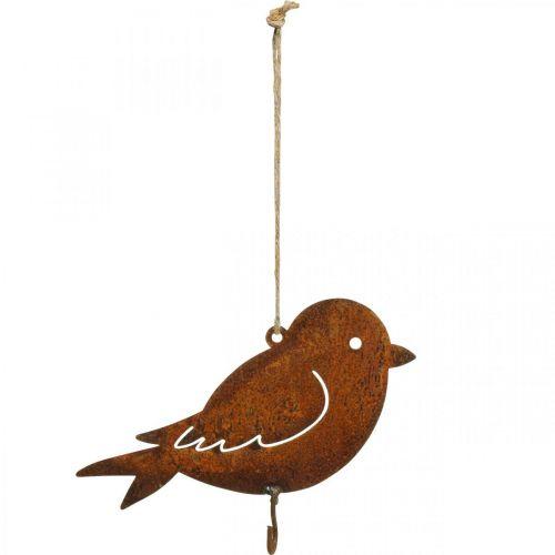 Dekorativ fågel, mathängare, metalldekoration rostfritt stål 19 × 13,5 cm