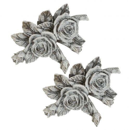 Rose för gravsmycken Polyresin 10cm x 8cm 6st