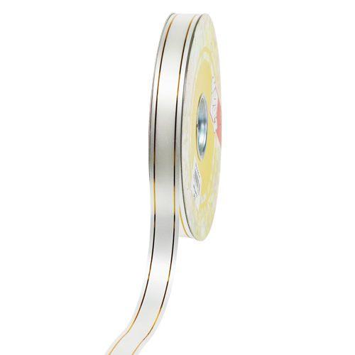 Presentband 2 guldremsor på vita 19mm 100m