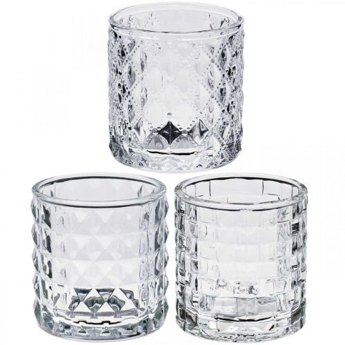 Blandning av glaslyktmönster, stearinljusdekoration, dekorativt kärl av glas, bordsdekoration 3st i en uppsättning
