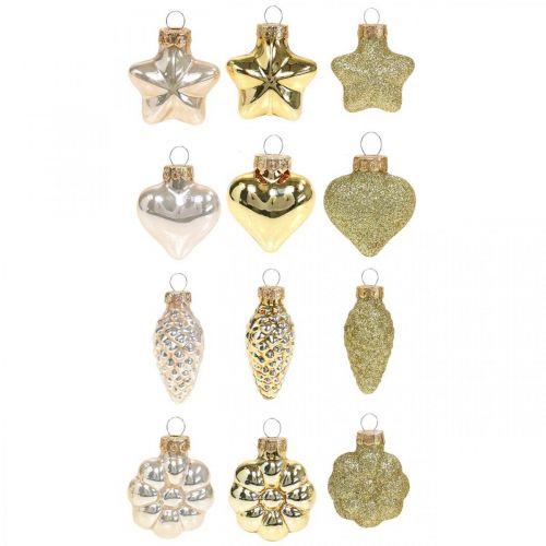 Mini julgransdekorationer blandar glasguld, diverse pärlfärger 4cm 12st