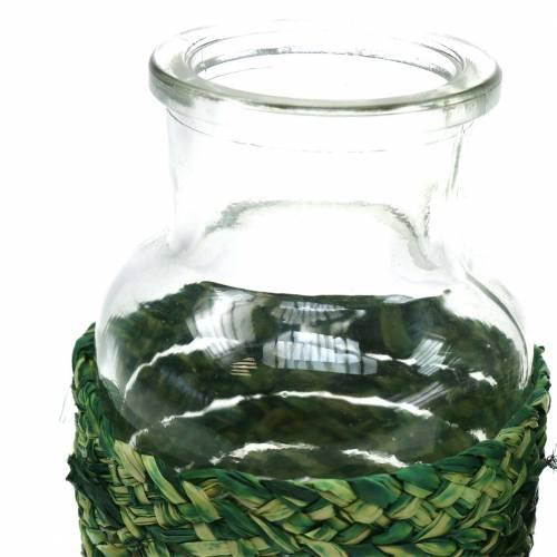 Glasflaska med bastgrön H10cm 4st