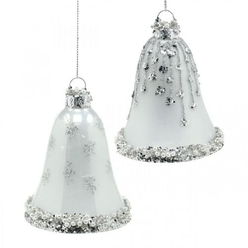 Julklockor, julgransdekorationer, klockor av glas Ø6,5cm H8cm vit uppsättning 2