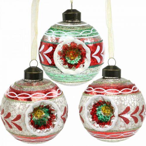 Julgransbollar med mönster, trädekorationer, julbollar färgade H9cm Ø8cm äkta glas 3st