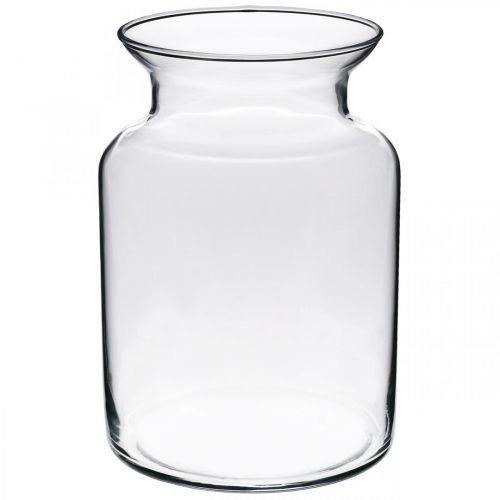 Vas av glasblomma bred klar Ø12cm H20cm
