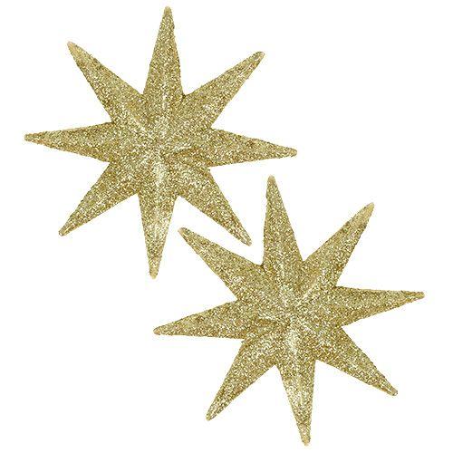 Glitter star guld Ø10cm 12st