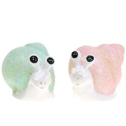 Deco figur snigel glitter mint / rosa 8 cm 6st