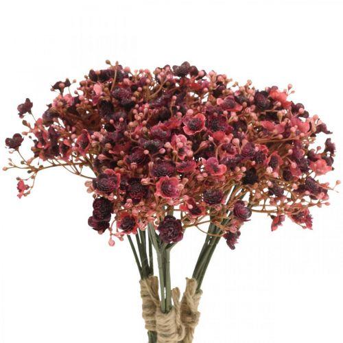 Gypsophila konstgjorda röda konstgjorda blommor höst 29,5cm 18st