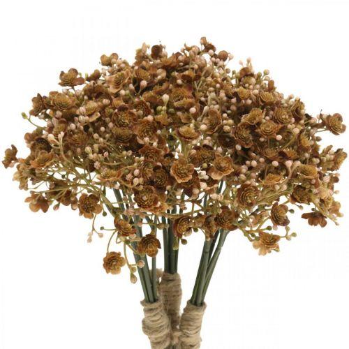 Gypsophila konstgjord brun för höstbukett 29,5cm 18st