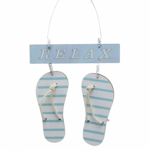 Flip flops för att hänga trä ljusblå 23 × 14cm 6st