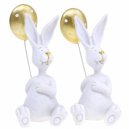 Kanin med ballongsittande vit, guld H13.5cm 2st