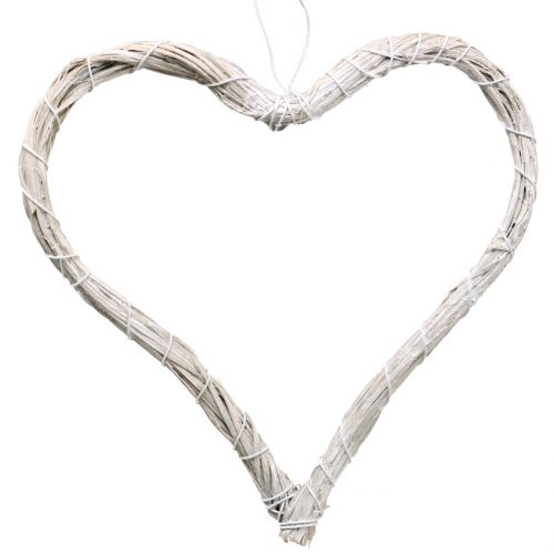 Bast hjärta för att hänga vitt 20cm 6st
