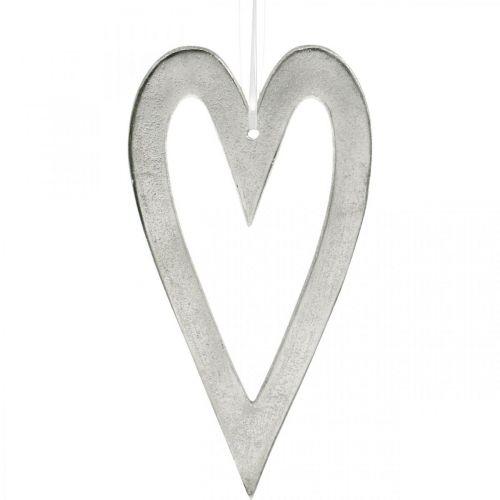 Dekorativt hjärta för att hänga bröllopsdekorationer i silver 22 × 12cm