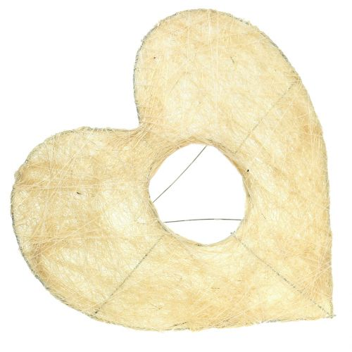 Hjärtmanschett sisal blekt 25 cm 6st