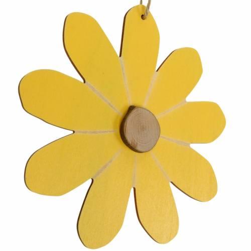 Träblommor att hänga, vårdekoration, träblommor gula och vita, sommarblommor 8st