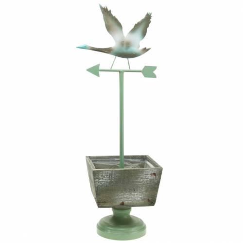 Växt kruka med fot vattendervat trä naturligt / grönt 26x20cm H68cm