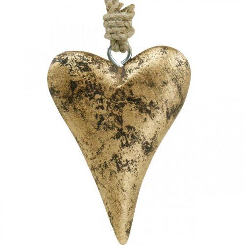 Trä hjärta guld effekt, Alla hjärtans dag, bröllop dekoration 10 × 7 cm