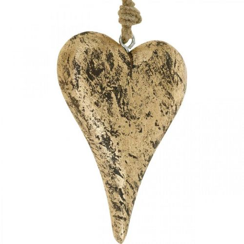 Hjärta att hänga trä gyllene vintagehängare 15 cm