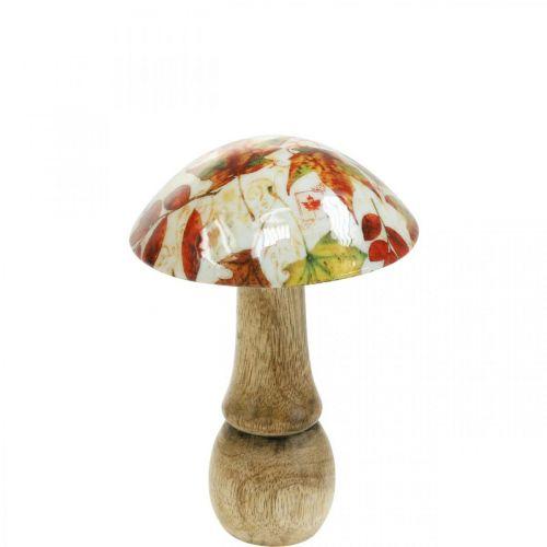 Träsvampdekoration höstlöv vit, färgglad svampdekoration Ø10cm H15cm