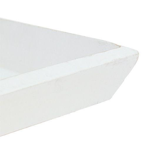 Träskål 25 cm x 25 cm i vitt