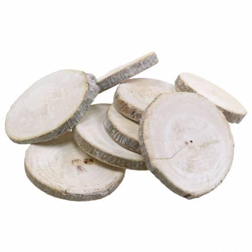 Träskivor runda vitkalkade Ø3-4,5cm 400g i ett nät