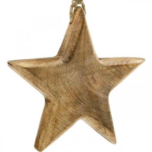 Dekorativ stjärna, trähängen, juldekorationer 14cm × 14cm