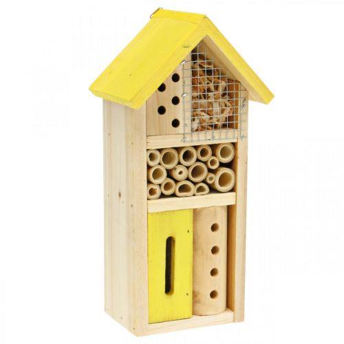 Insekthotell gul trä insekt hus trädgård häckande låda H26cm