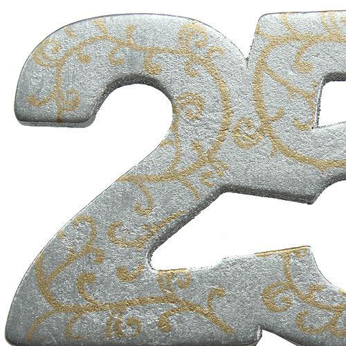 """Jubileumsnummer """"25"""" av trä, silver 36st"""